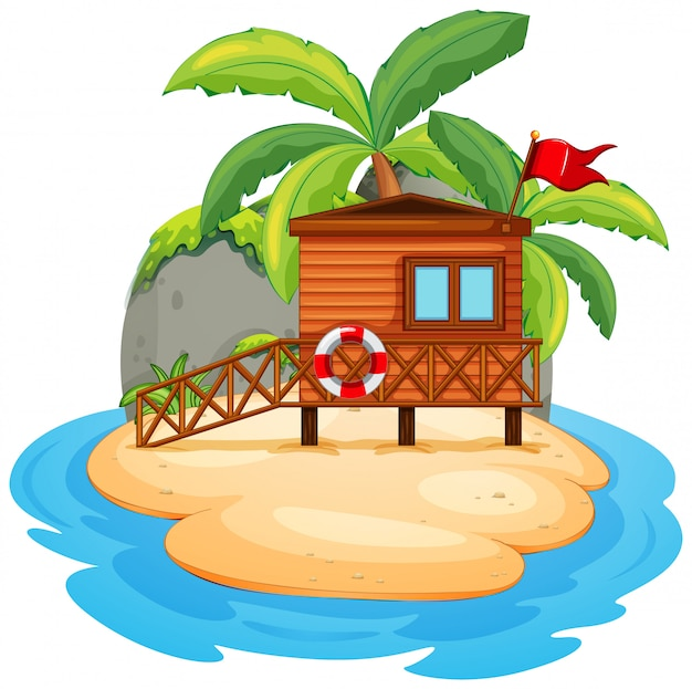 Ilha de resort isolada em branco
