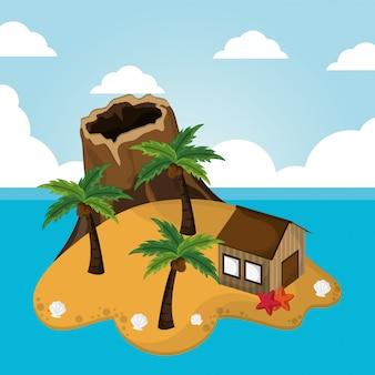 Ilha de vulcão, cabana, palmeira, estrela do mar, férias, litoral