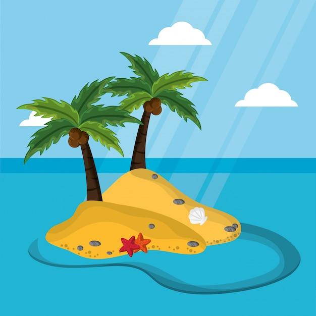 Ilha deserta com palmeira coco estrela-marinho mexilhão luz solar