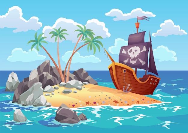 Ilha do oceano pirata em estilo cartoon com navio atracado na ilha. palmeiras na ilha desabitada do mar. paisagem tropical com praia de areia e natureza tropical.