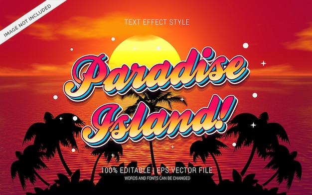 Ilha do paraíso! estilo de efeitos de texto
