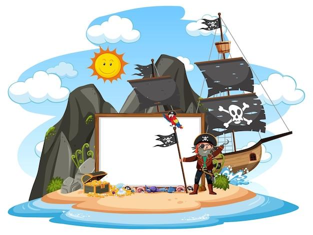 Ilha do pirata com modelo de banner em branco