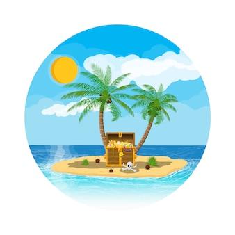 Ilha do tesouro dos piratas com baú