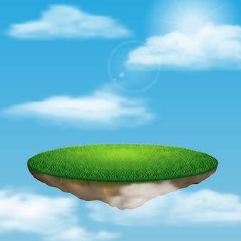 Ilha flutuante no céu entre as nuvens