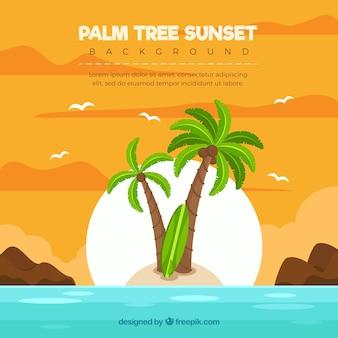 Ilha, fundo, palma, árvores