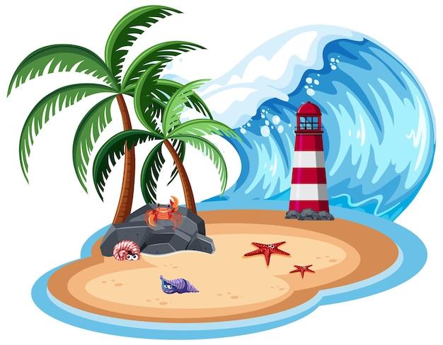 Ilha isolada e grande onda