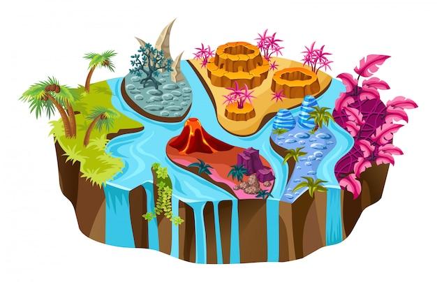 Ilha isométrica com rios e árvores.