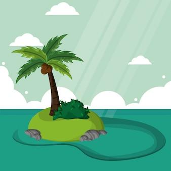 Ilha paradise palmeira paisagem do sol de coco