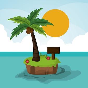 Ilha paradisíaca palma sol placa de madeira