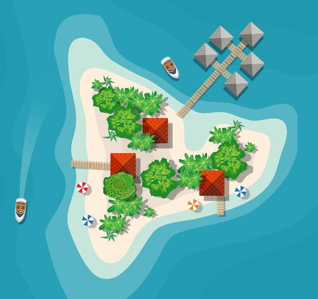 Ilha paradisíaca vista de cima