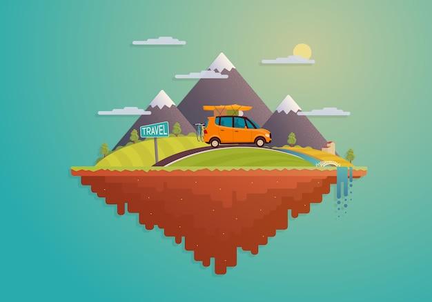 Ilha plana dos desenhos animados com a paisagem e o carro sobre o tema da viagem.
