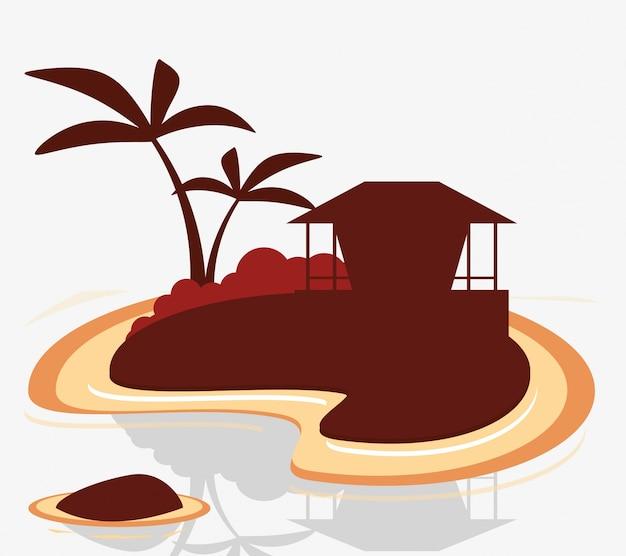 Ilha silhouette cabana tropical exótica
