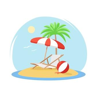 Ilha tropical, com, árvore palma, decked, guarda-chuva bola praia, e, starfish
