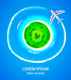 Ilha tropical com cartaz de avião