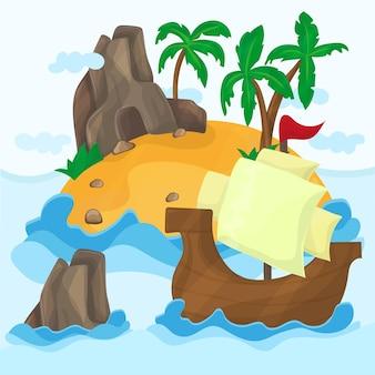 Ilha tropical com palmeiras e navio no oceano, ilustração.