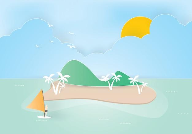Ilha tropical com palmeiras. montanhas, oceano azul e homem no windsurf, corte de papel