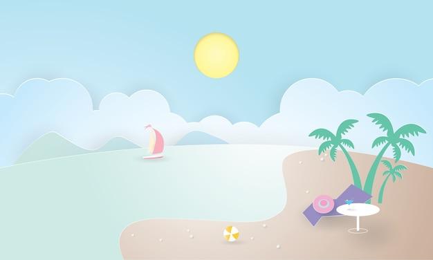 Ilha tropical com palmeiras. montanhas, oceano azul, horário de verão, corte de papel