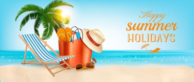 Ilha tropical com palmeiras, uma cadeira de praia e um oceano. bandeira do vetor de férias.