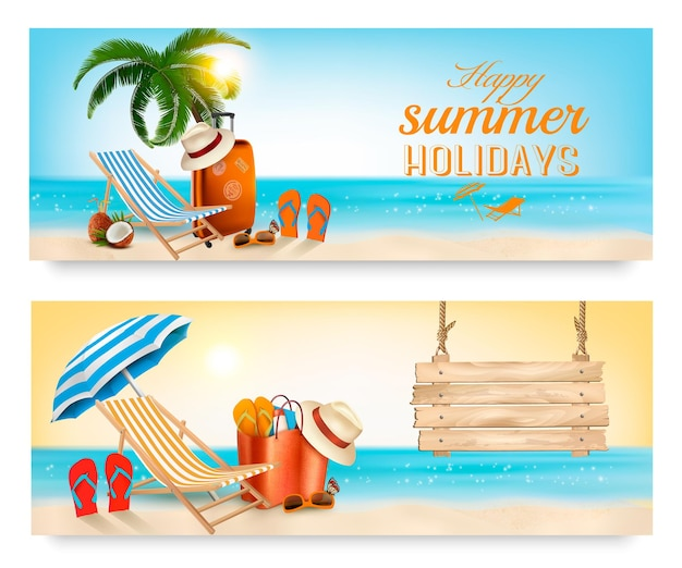 Ilha tropical com palmeiras, uma cadeira de praia e um oceano. banners de vetor de férias.