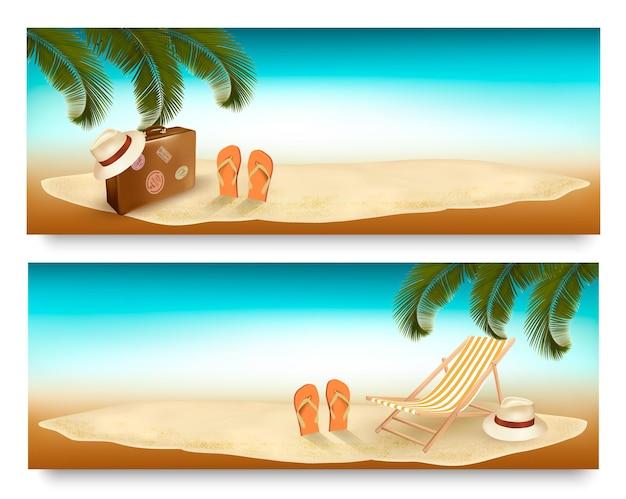 Ilha tropical com palmeiras, uma cadeira de praia e uma mala. banners de vetor de férias. vetor.