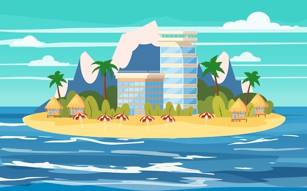 Ilha tropical, construção de hotéis, férias, viagens, relaxar, vista do mar, oceano, cadeira de praia, guarda-chuvas, modelo, banner