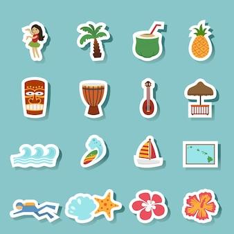 Ilha tropical de havaí e ícones de praia