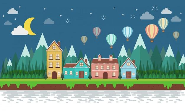 Ilha tropical e edifícios coloridos. casas