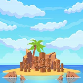 Ilha tropical entre o mar. palmeiras, praias arenosas, rochas, estátuas, tendas e casas rituais. paisagem bonita da praia do mar. ilustração vetorial