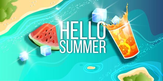 Ilha tropical no verão, vista superior, melancia, limonada, gelo