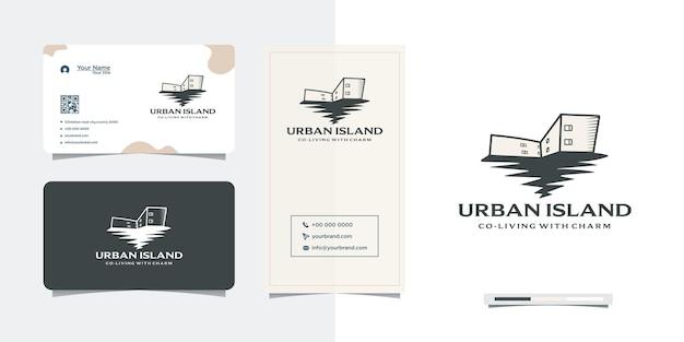 Ilha urbana projetar prédios antigos e cartões de visita