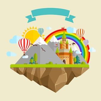 Ilha voadora com castelo de conto de fadas