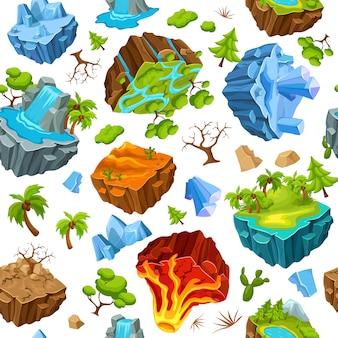 Ilhas de jogos e natureza elementos padrão