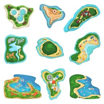 Ilhota de ilha vector ou península com conjunto de ilustração de mar praia e oceano do paraíso