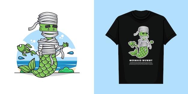 Illuatration of mermaid mummy character com t-shirt design