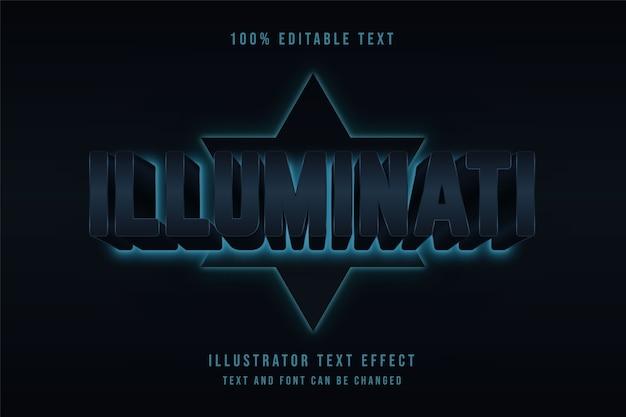 Illuminati, efeito de texto editável em 3d gradação de vermelho e efeito de estilo cinematográfico preto