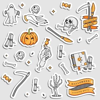 Illustartion conjunto de ícones lineares para feliz dia das bruxas. emblemas e etiquetas para festa e feira. adesivos de doces ou travessuras. citações de tipografia. remendar emblemas e alfinetes.