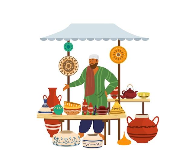 Illustartion de loja de cerâmica de rua com vendedor árabe.