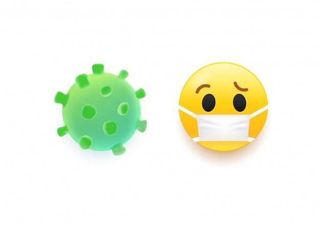 Illustraction 3d de vírus e emoji.