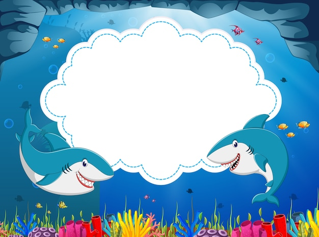 Illustraion de desenhos animados de tubarão bonito