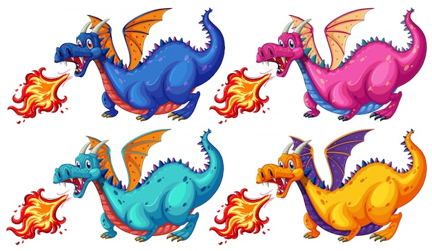 Illustraion de um conjunto de dragão que sopra o fogo