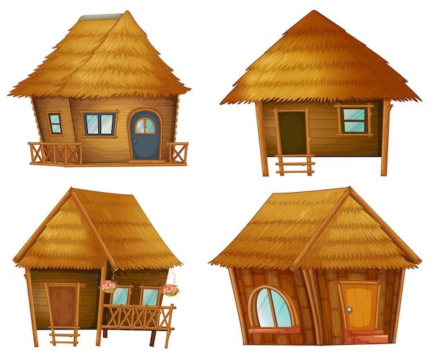 Illustraiton em cabanas no fundo branco