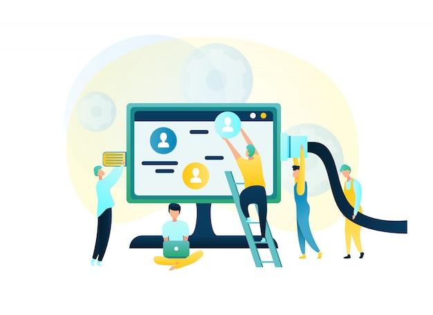Illustration group people trabalhador de apoio ao cliente