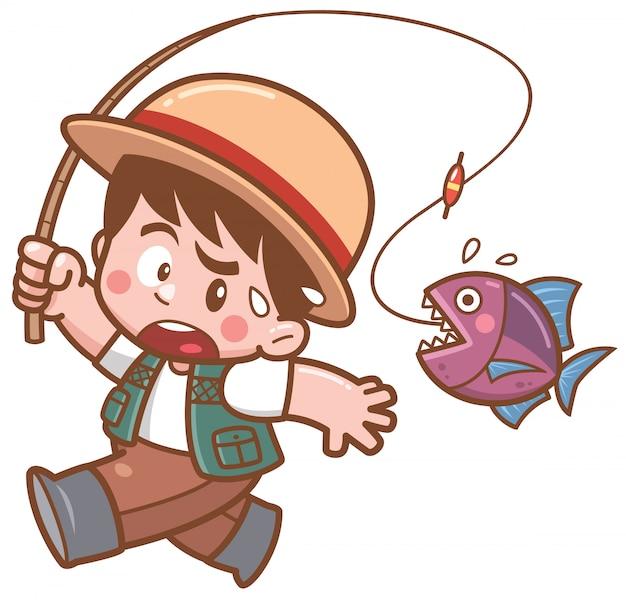 Illustration of cartoon fishing garoto assustando os peixes