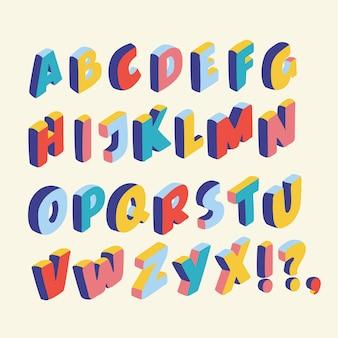 Illutration dos desenhos animados da fonte 3d, grandes letras coloridas em pé. letras de formas latinas de volume em cores diferentes no estilo isométrico