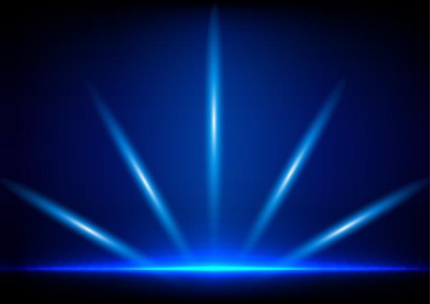 Iluminação absractada no fundo azul