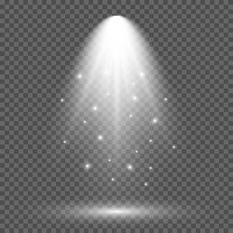 Iluminação branca fria com holofote. efeitos de iluminação de cena em um fundo transparente escuro. ilustração vetorial
