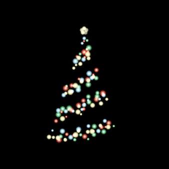 Iluminação da árvore de natal no escuro