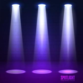 Iluminação da cena. efeitos de brilho em um fundo escuro de parede de grunge