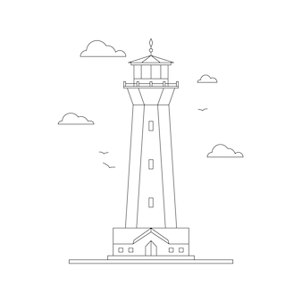 Iluminação de caminho de construção de farol de arte em linha. torre de holofotes para navegação marítima de navios