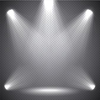 Iluminação de cena luz brilhante, efeitos transparentes